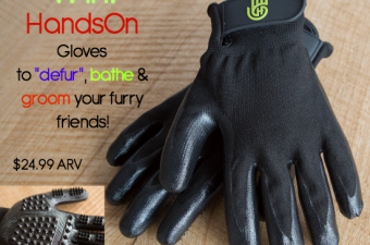 "HandsOn Gloves to ""defur"" & massage your furry friends"