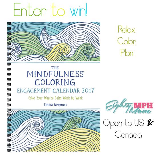 Mindfulness coloring book calendar giveaway