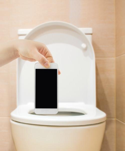 Phone in toilet