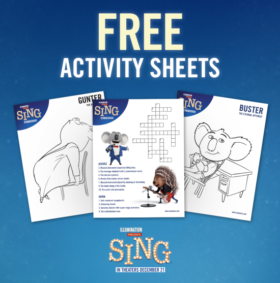 SING Activity Sheets and Printables