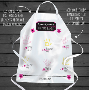 personalized apron with kids handprints