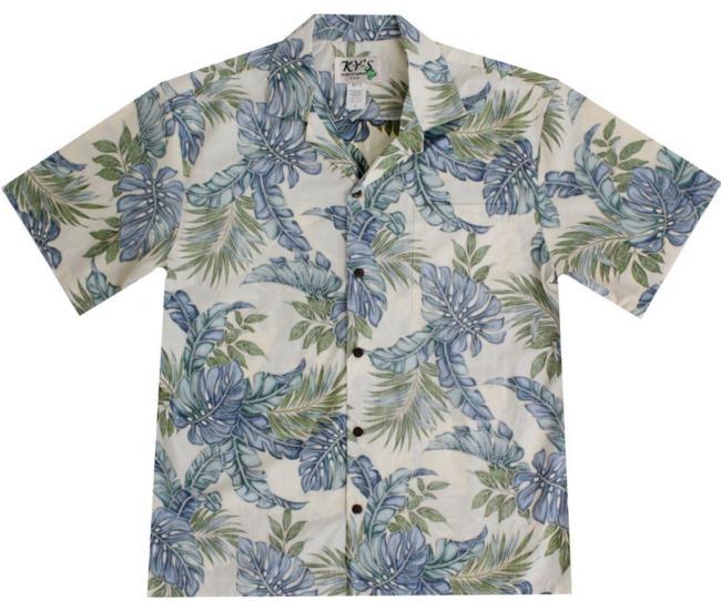 wave shoppe men's hawaiian shirt blue green