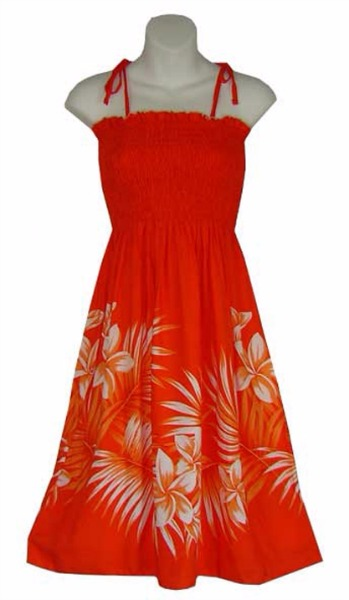 wave shoppe orange hawaiian dress with palm leaves