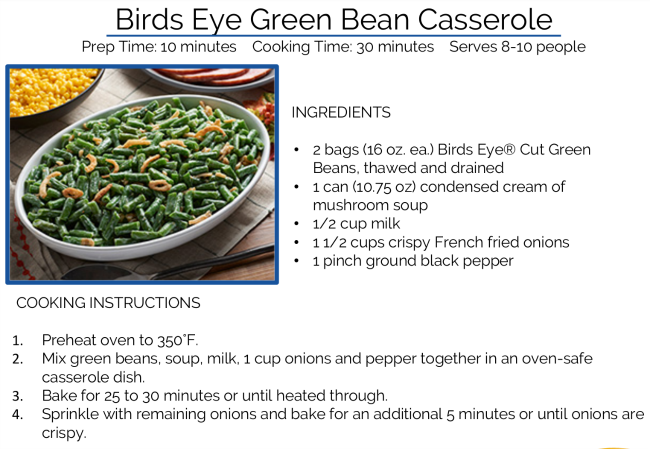 birds eye green bean casserole recipe