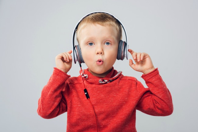 boy with headphones stories podcast