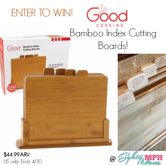 good cooking bamboo index cutting boards giveaway