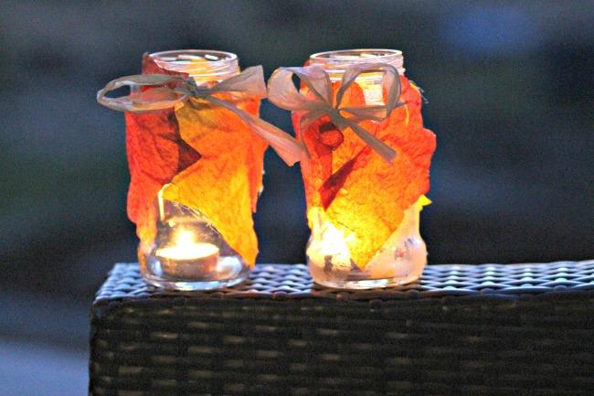 DIY Autumn Leaf Jars