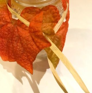 leaves on jar
