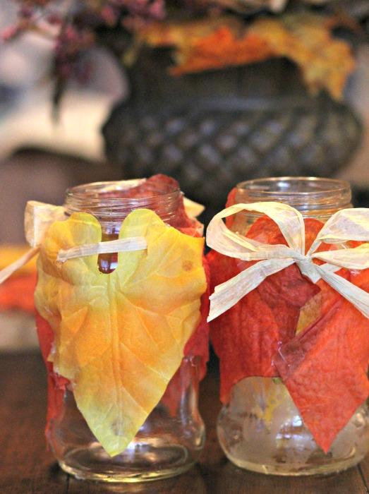 autumn leaf candle jars