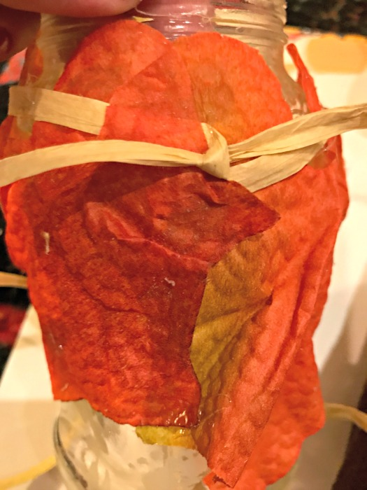 leaves on jar raffia
