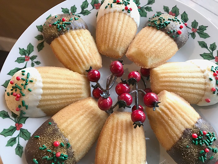 Festive holiday madeleine cookies