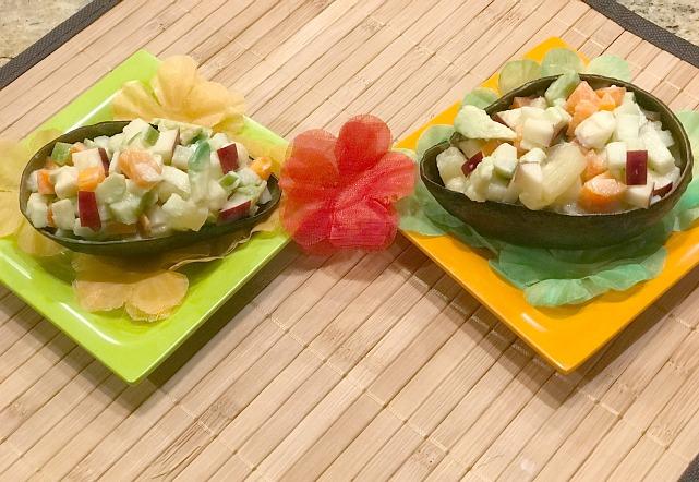 Avocado fruit salad boats