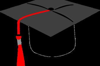 black graduation cap with red tassel