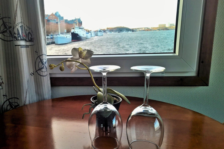 wine glasses in front of window looking out at water