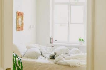 image of bedroom with an unfixed bed and plants