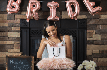 bride to be opening wedding gifts