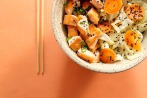 poke bowl with raw fish