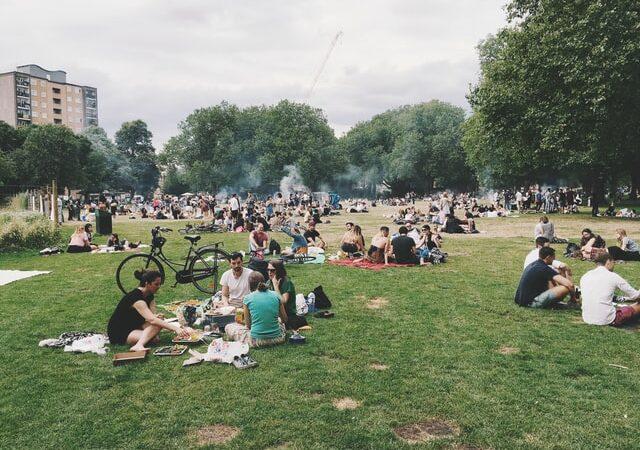 socially distant outdoor barbecue