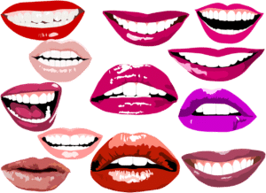 multiple lipstick smiles in various shades