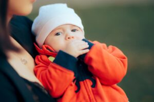 Baby in warm jacket